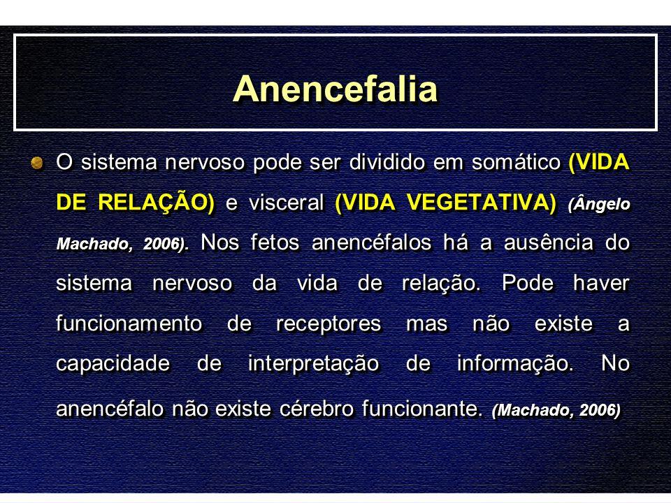 AnencefaliaAnencefalia O sistema nervoso pode ser dividido em somático (VIDA DE RELAÇÃO) e visceral (VIDA VEGETATIVA) (Ângelo Machado, 2006). Nos feto
