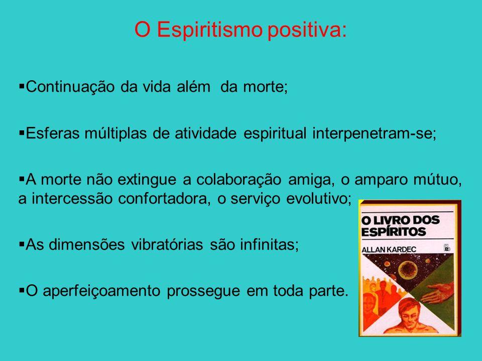 O Espiritismo positiva: Continuação da vida além da morte; Esferas múltiplas de atividade espiritual interpenetram-se; A morte não extingue a colabora