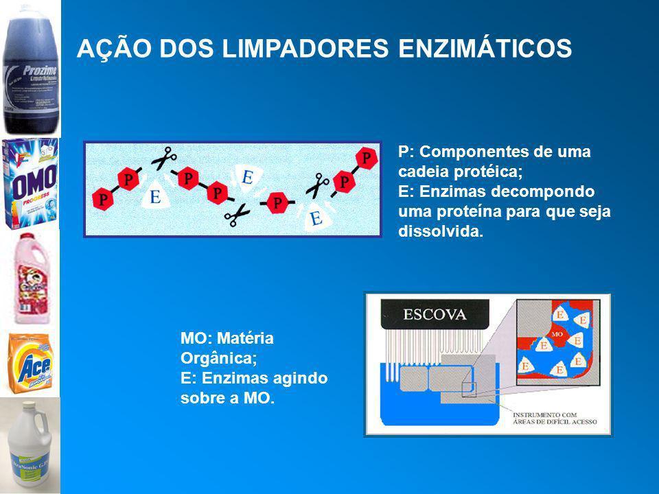 AÇÃO DOS LIMPADORES ENZIMÁTICOS P: Componentes de uma cadeia protéica; E: Enzimas decompondo uma proteína para que seja dissolvida. MO: Matéria Orgâni