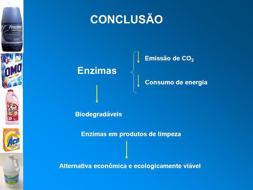 CONCLUSÃO Enzimas Consumo de energia Emissão de CO 2 Biodegradáveis Enzimas em produtos de limpeza Alternativa econômica e ecologicamente viável