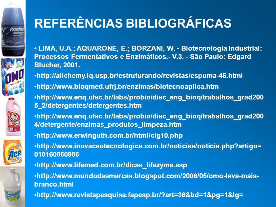 REFERÊNCIAS BIBLIOGRÁFICAS LIMA, U.A.; AQUARONE, E.; BORZANI, W. - Biotecnologia Industrial: Processos Fermentativos e Enzimáticos.- V.3. - São Paulo: