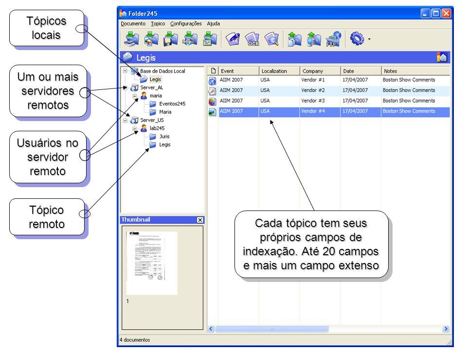Tópicos locais Usuários no servidor remoto Tópico remoto Cada tópico tem seus próprios campos de indexação. Até 20 campos e mais um campo extenso Um o