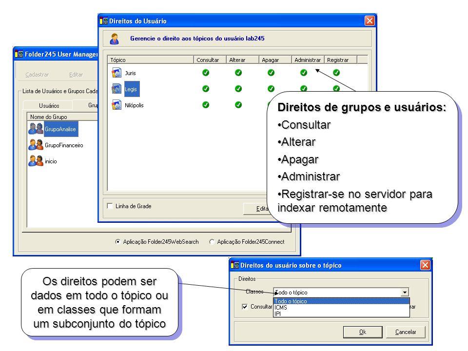 Direitos de grupos e usuários: ConsultarConsultar AlterarAlterar ApagarApagar AdministrarAdministrar Registrar-se no servidor para indexar remotamente