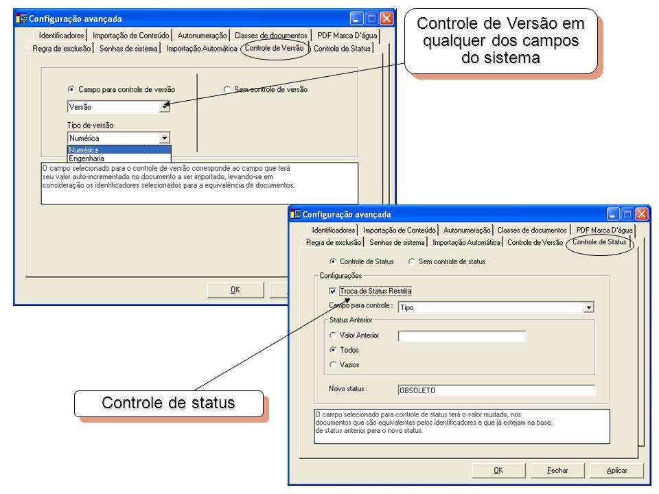 Controle de Versão em qualquer dos campos do sistema Controle de status