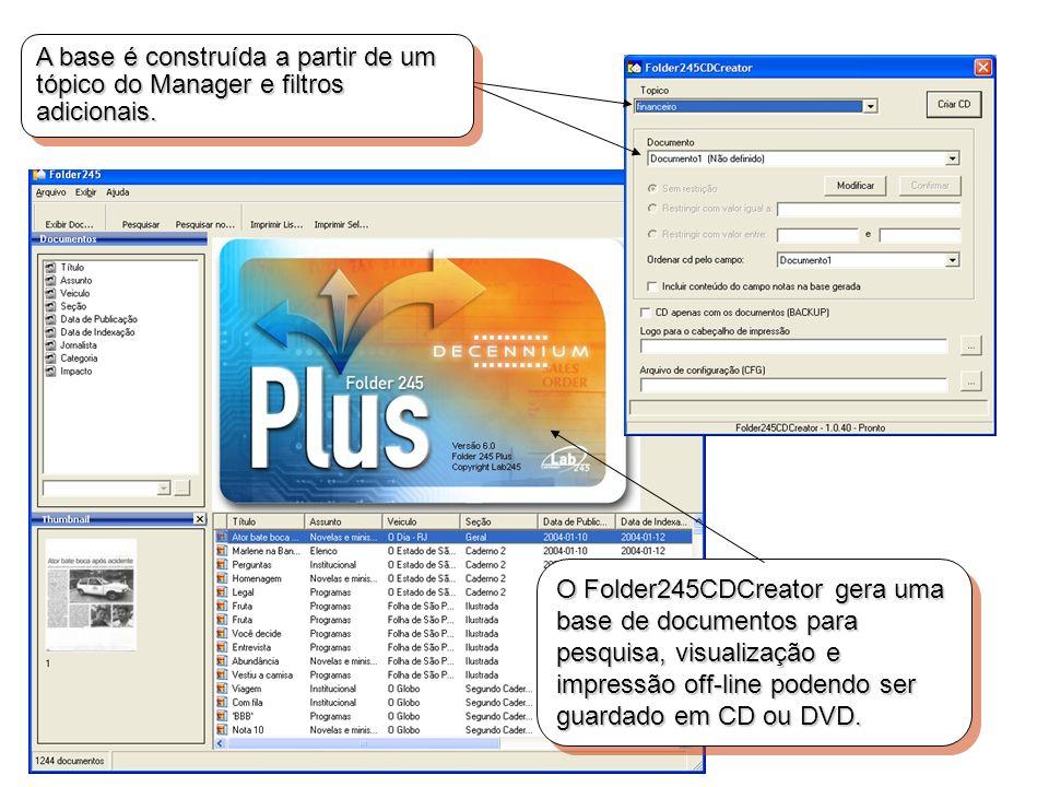 A base é construída a partir de um tópico do Manager e filtros adicionais. O Folder245CDCreator gera uma base de documentos para pesquisa, visualizaçã