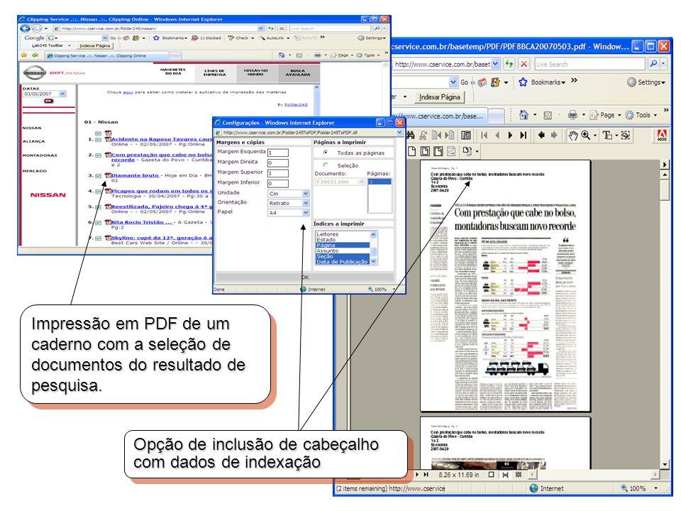 Impressão em PDF de um caderno com a seleção de documentos do resultado de pesquisa. Opção de inclusão de cabeçalho com dados de indexação