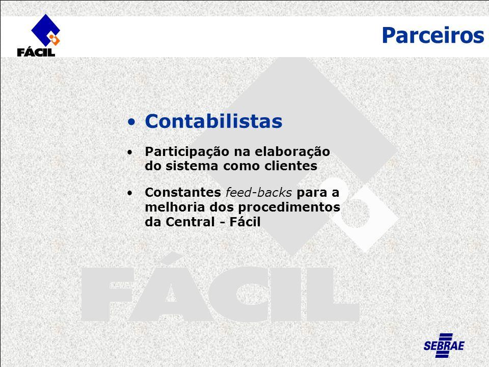 Parceiros Contabilistas Participação na elaboração do sistema como clientes Constantes feed-backs para a melhoria dos procedimentos da Central - Fácil