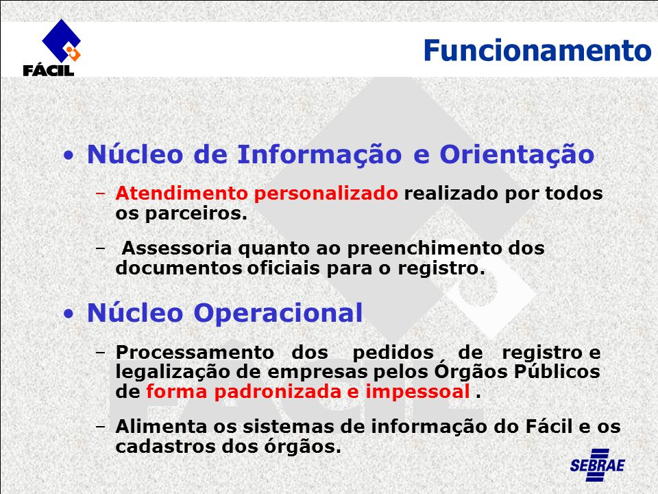 Funcionamento Núcleo de Informação e Orientação –Atendimento personalizado realizado por todos os parceiros. – Assessoria quanto ao preenchimento dos