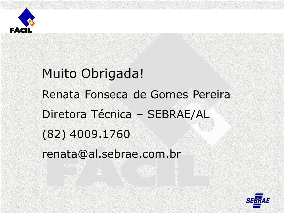 Muito Obrigada! Renata Fonseca de Gomes Pereira Diretora Técnica – SEBRAE/AL (82) 4009.1760 renata@al.sebrae.com.br