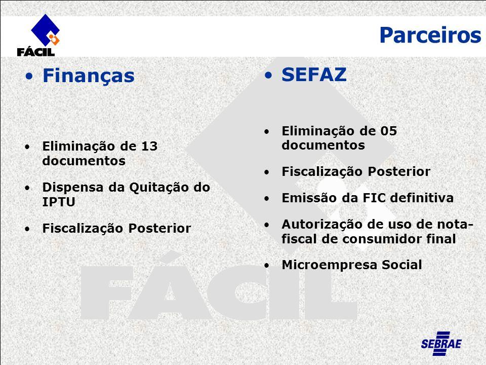Parceiros Banco do Brasil Manutenção do Posto apesar do baixo número de autenticações Corpo de Bombeiros Fiscalização Posterior Redução da Taxa
