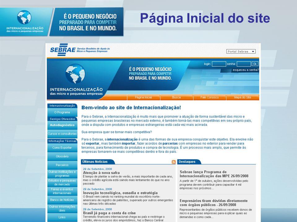 Internacionalização on-line: Autodiagnóstico Cursos online Informações Guia de Exportação Glossário Programas de Apoio (parceiros: Apex, ABDI, BB, CNI
