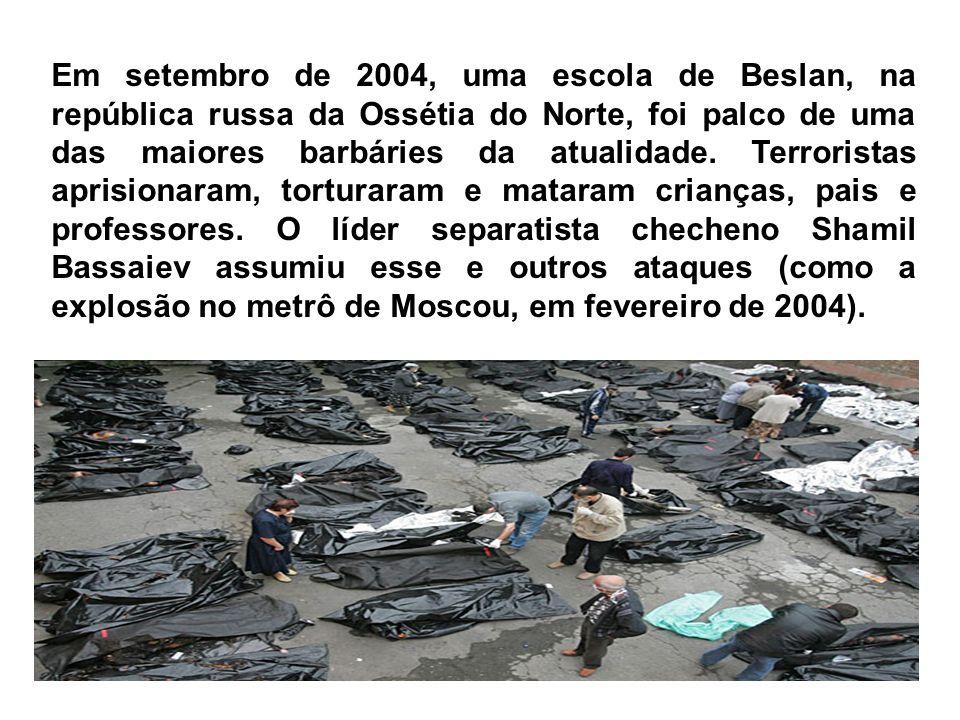 Em setembro de 2004, uma escola de Beslan, na república russa da Ossétia do Norte, foi palco de uma das maiores barbáries da atualidade.