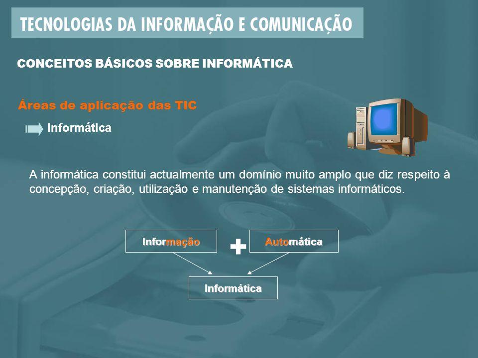 Áreas de aplicação das TIC Informática Informação + Automática Informática A informática constitui actualmente um domínio muito amplo que diz respeito à concepção, criação, utilização e manutenção de sistemas informáticos.