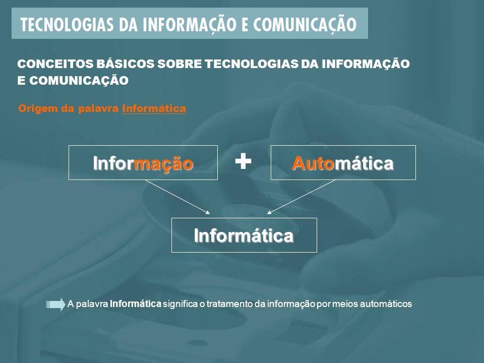 A palavra Informática significa o tratamento da informação por meios automáticos CONCEITOS BÁSICOS SOBRE TECNOLOGIAS DA INFORMAÇÃO E COMUNICAÇÃO Informação + Automática Informática Origem da palavra Informática