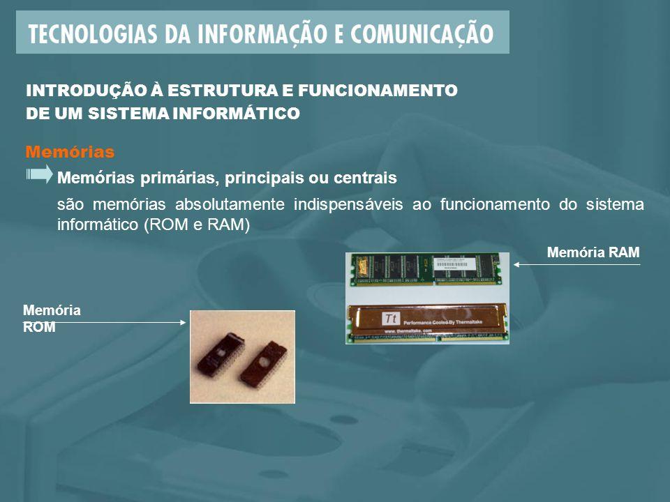 Memórias primárias, principais ou centrais são memórias absolutamente indispensáveis ao funcionamento do sistema informático (ROM e RAM) Memória ROM Memória RAM Memórias INTRODUÇÃO À ESTRUTURA E FUNCIONAMENTO DE UM SISTEMA INFORMÁTICO