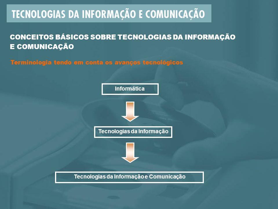 CONCEITOS BÁSICOS SOBRE TECNOLOGIAS DA INFORMAÇÃO E COMUNICAÇÃO Terminologia tendo em conta os avanços tecnológicos Informática Tecnologias da Informação Tecnologias da Informação e Comunicação