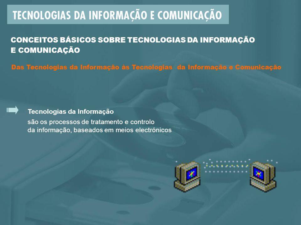 Tecnologias da Informação são os processos de tratamento e controlo da informação, baseados em meios electrónicos CONCEITOS BÁSICOS SOBRE TECNOLOGIAS DA INFORMAÇÃO E COMUNICAÇÃO Das Tecnologias da Informação às Tecnologias da Informação e Comunicação