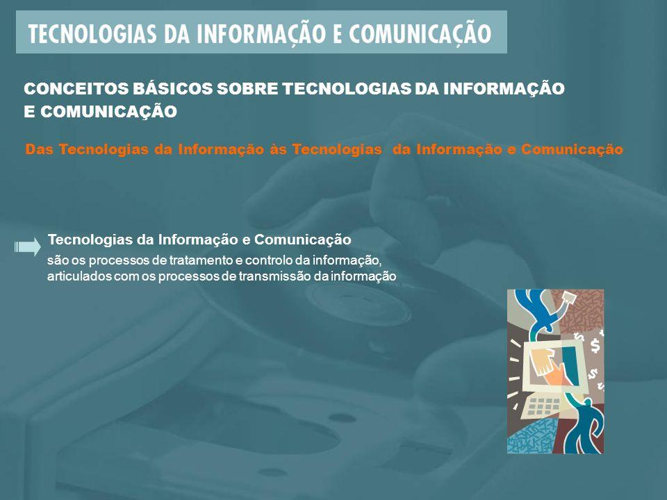 Tecnologias da Informação e Comunicação são os processos de tratamento e controlo da informação, articulados com os processos de transmissão da informação CONCEITOS BÁSICOS SOBRE TECNOLOGIAS DA INFORMAÇÃO E COMUNICAÇÃO