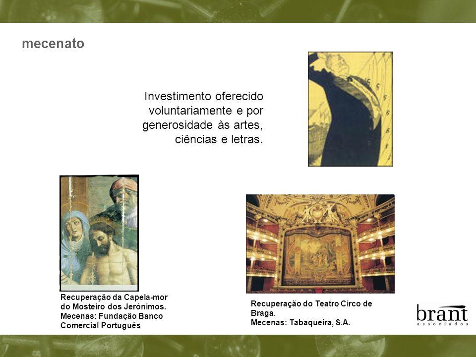 Investimento oferecido voluntariamente e por generosidade às artes, ciências e letras. Recuperação do Teatro Circo de Braga. Mecenas: Tabaqueira, S.A.