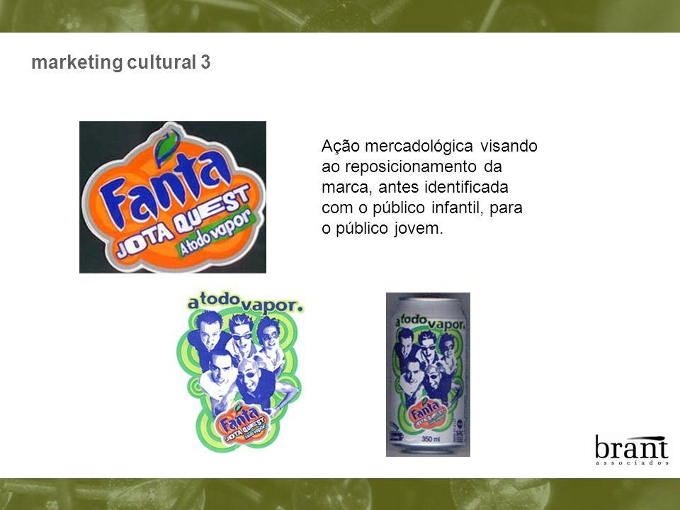 marketing cultural 3 Ação mercadológica visando ao reposicionamento da marca, antes identificada com o público infantil, para o público jovem.