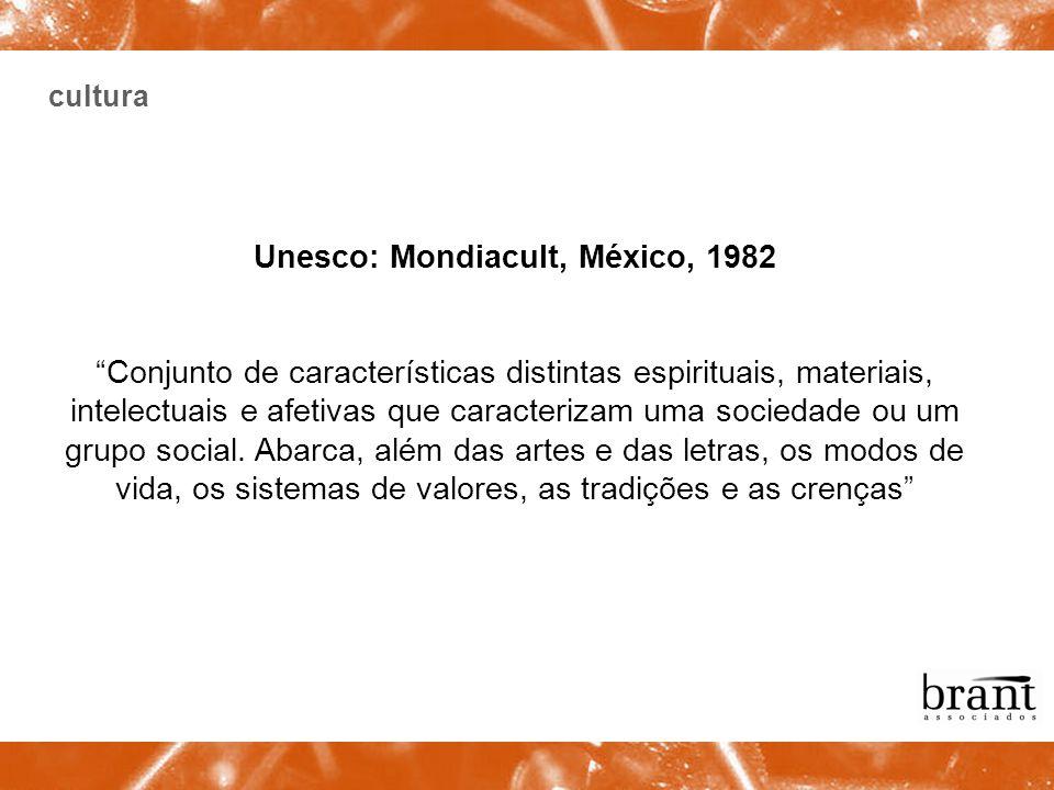 cultura Unesco: Mondiacult, México, 1982 Conjunto de características distintas espirituais, materiais, intelectuais e afetivas que caracterizam uma so