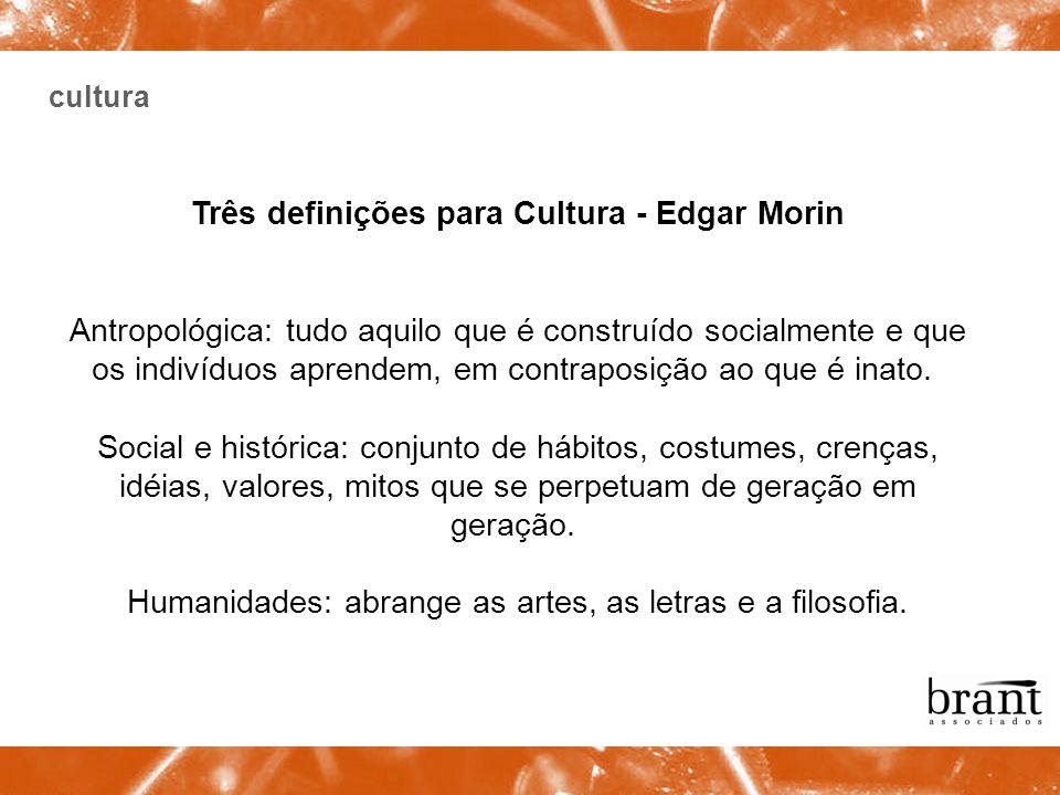 cultura Três definições para Cultura - Edgar Morin Antropológica: tudo aquilo que é construído socialmente e que os indivíduos aprendem, em contraposi