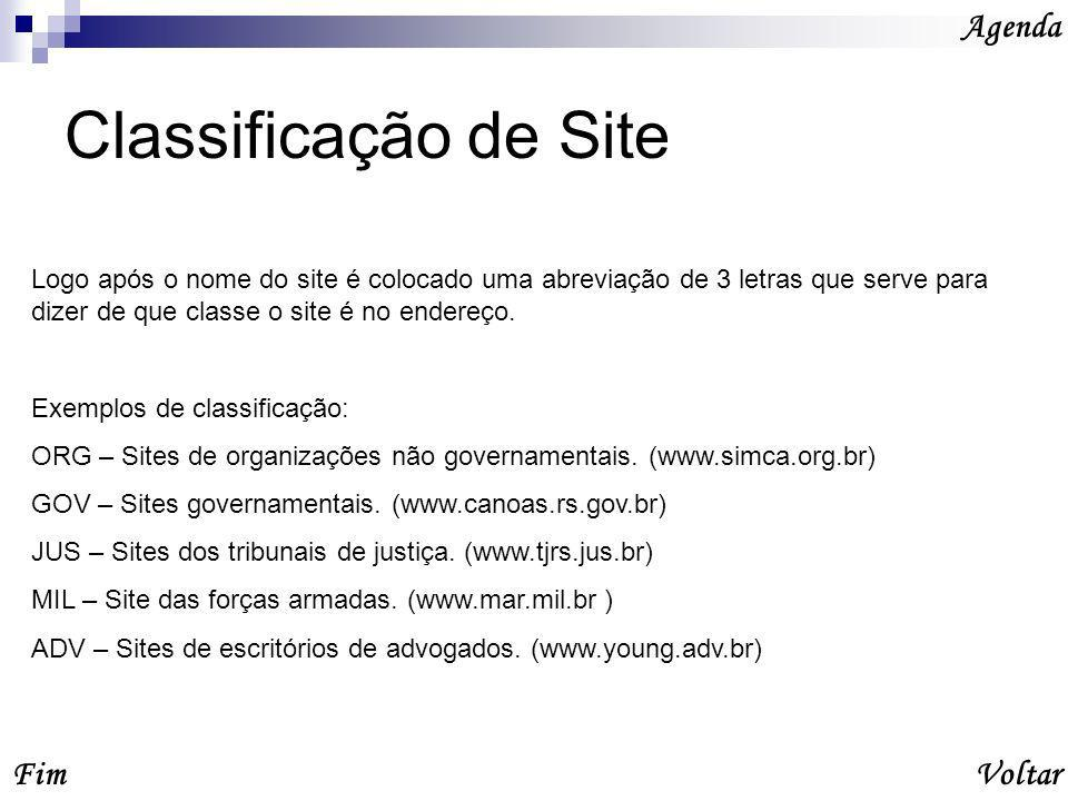 Classificação de Site Agenda VoltarFim Logo após o nome do site é colocado uma abreviação de 3 letras que serve para dizer de que classe o site é no endereço.