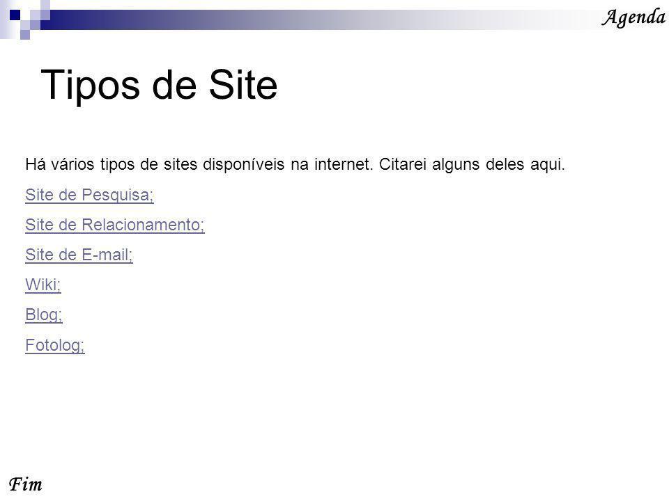 Tipos de Site Fim Agenda Há vários tipos de sites disponíveis na internet.