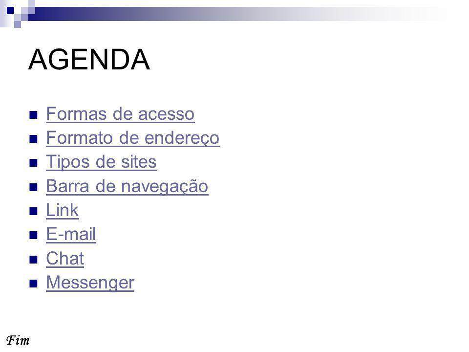 AGENDA Formas de acesso Formato de endereço Tipos de sites Barra de navegação Link E-mail Chat Messenger Fim