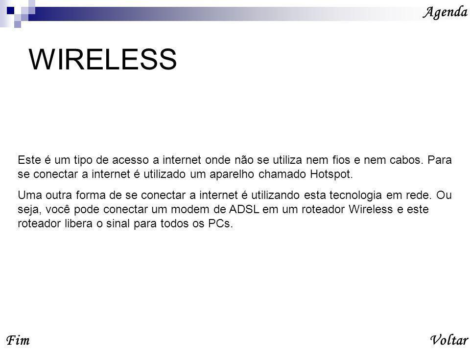 WIRELESS Agenda VoltarFim Este é um tipo de acesso a internet onde não se utiliza nem fios e nem cabos.