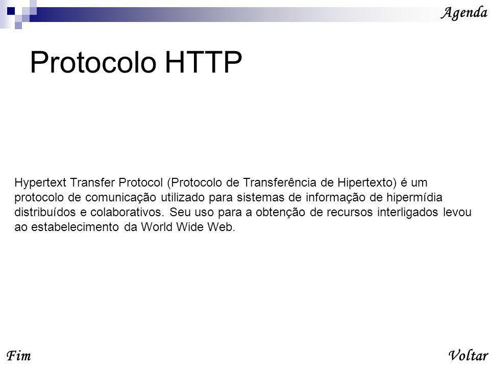 Protocolo HTTP Agenda VoltarFim Hypertext Transfer Protocol (Protocolo de Transferência de Hipertexto) é um protocolo de comunicação utilizado para sistemas de informação de hipermídia distribuídos e colaborativos.
