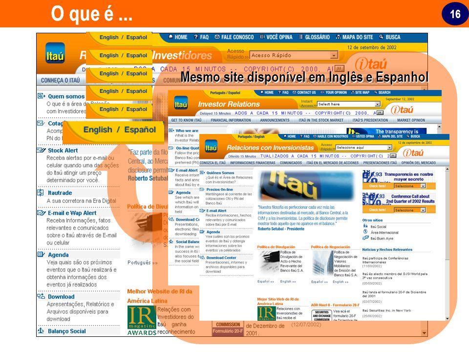 16 O que é... Mesmo site disponível em Inglês e Espanhol