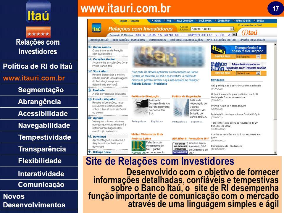17 Relações com Investidores Política de RI do Itaú www.itauri.com.br Segmentação Abrangência Acessibilidade Navegabilidade Tempestividade Transparênc