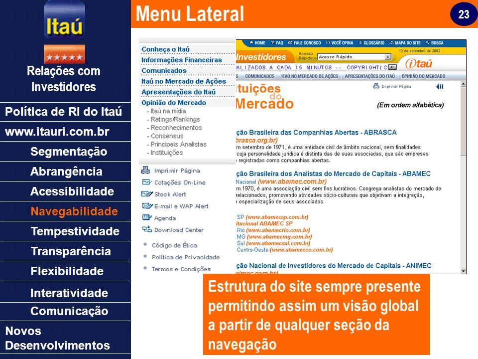 23 Relações com Investidores Política de RI do Itaú Segmentação Abrangência Acessibilidade Navegabilidade Tempestividade Transparência Flexibilidade N