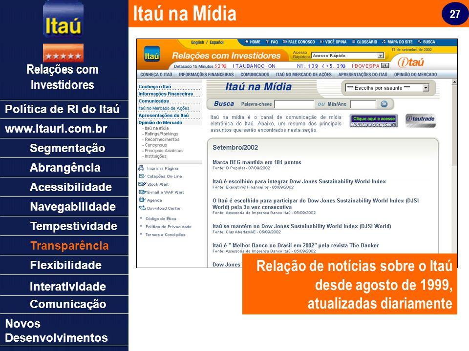 27 Relações com Investidores Política de RI do Itaú Segmentação Abrangência Acessibilidade Navegabilidade Tempestividade Transparência Flexibilidade N