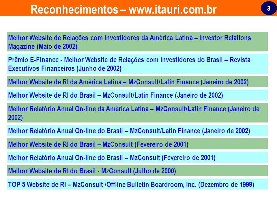 3 Reconhecimentos – www.itauri.com.br Melhor Website de Relações com Investidores da América Latina – Investor Relations Magazine (Maio de 2002) Prêmi