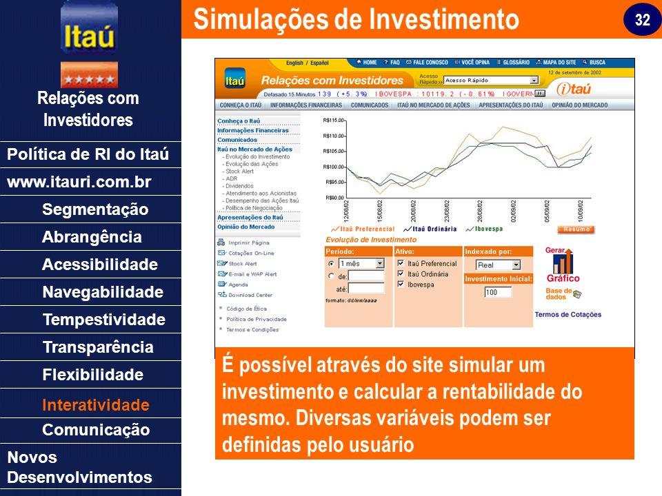 32 Relações com Investidores Política de RI do Itaú Segmentação Abrangência Acessibilidade Navegabilidade Tempestividade Transparência Flexibilidade N