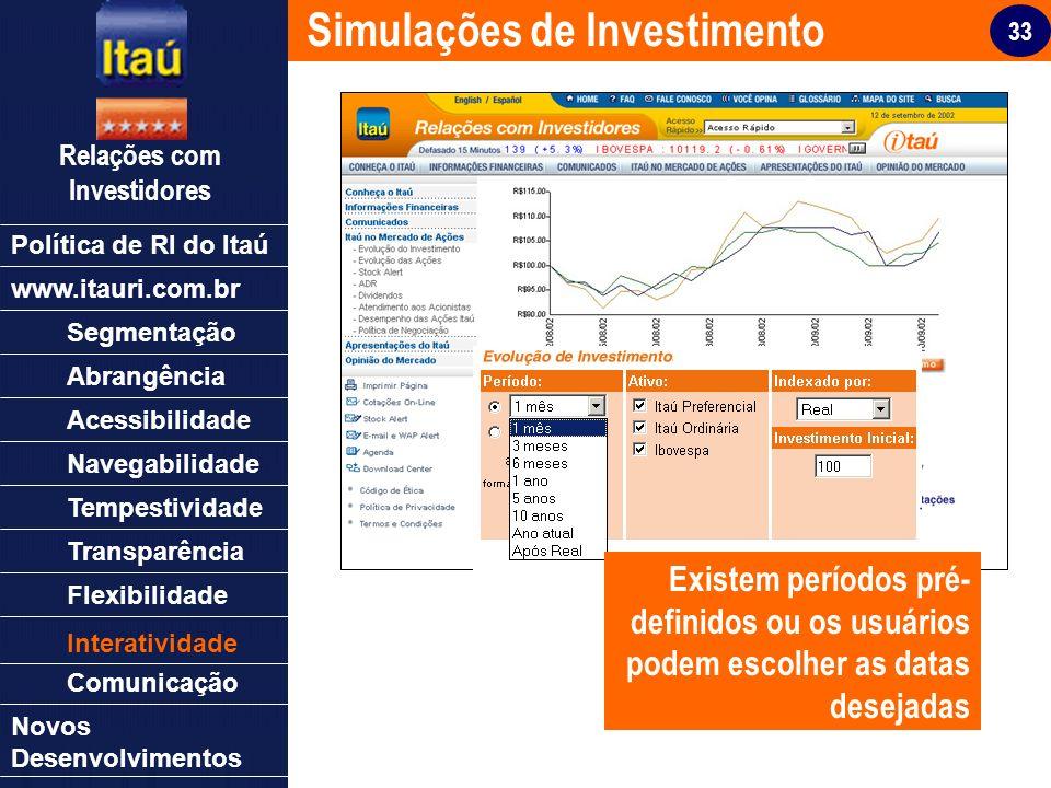 33 Relações com Investidores Política de RI do Itaú Segmentação Abrangência Acessibilidade Navegabilidade Tempestividade Transparência Flexibilidade N