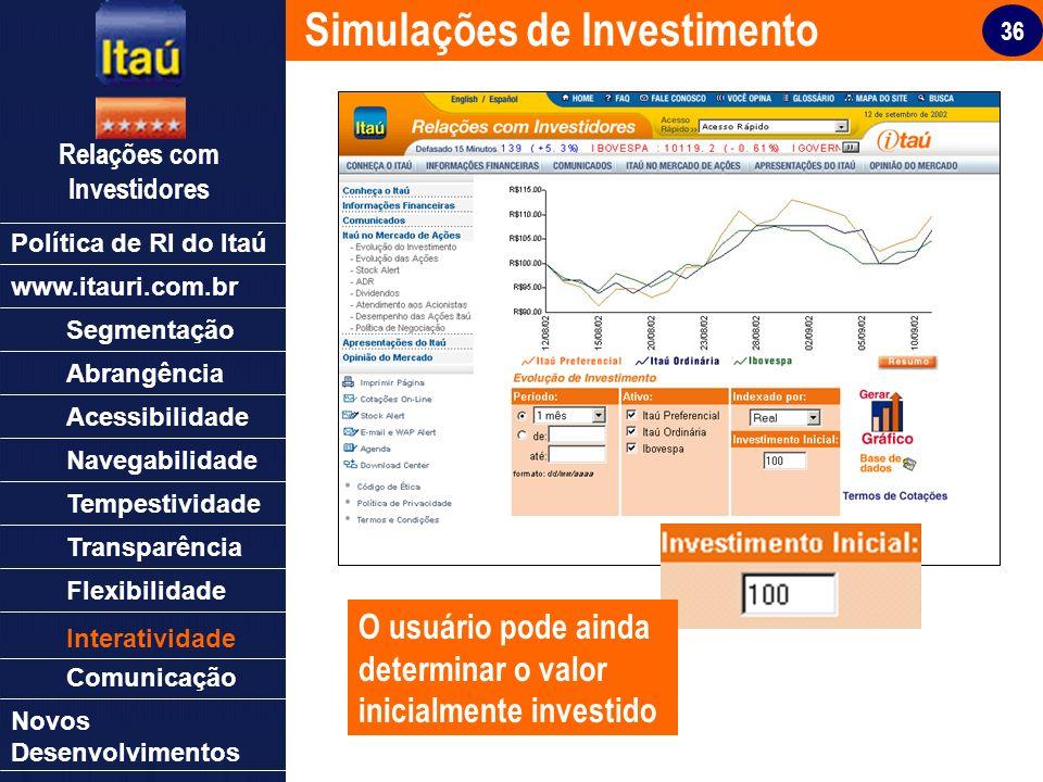 36 Relações com Investidores Política de RI do Itaú Segmentação Abrangência Acessibilidade Navegabilidade Tempestividade Transparência Flexibilidade N