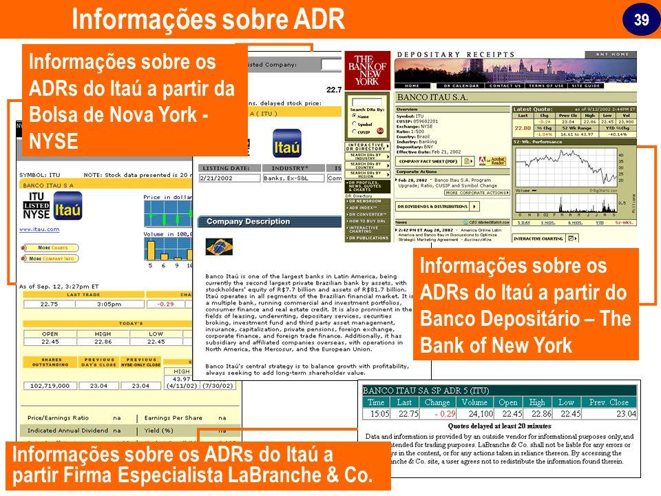 39 Informações sobre ADR Informações sobre os ADRs do Itaú a partir da Bolsa de Nova York - NYSE Informações sobre os ADRs do Itaú a partir Firma Espe