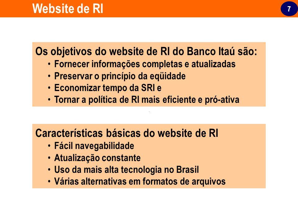 7 Website de RI Os objetivos do website de RI do Banco Itaú são: Fornecer informações completas e atualizadas Preservar o princípio da eqüidade Econom