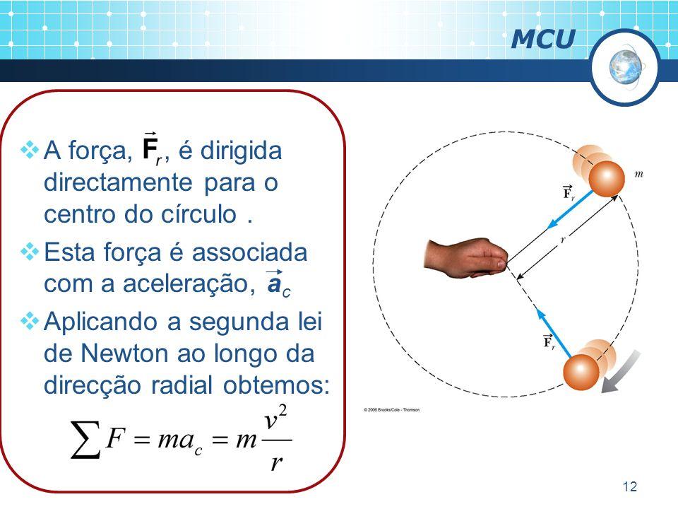 12 MCU A força,, é dirigida directamente para o centro do círculo.