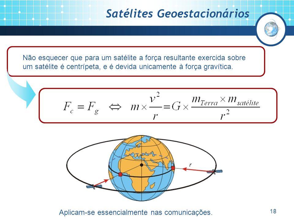 18 Satélites Geoestacionários Não esquecer que para um satélite a força resultante exercida sobre um satélite é centrípeta, e é devida unicamente à força gravítica.