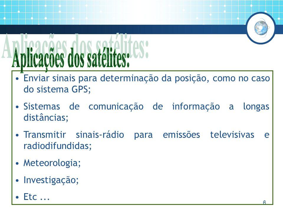 6 Enviar sinais para determinação da posição, como no caso do sistema GPS; Sistemas de comunicação de informação a longas distâncias; Transmitir sinais-rádio para emissões televisivas e radiodifundidas; Meteorologia; Investigação; Etc...