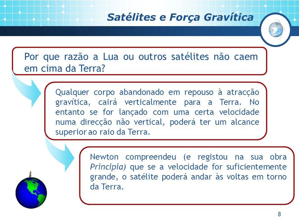 8 Satélites e Força Gravítica Por que razão a Lua ou outros satélites não caem em cima da Terra.