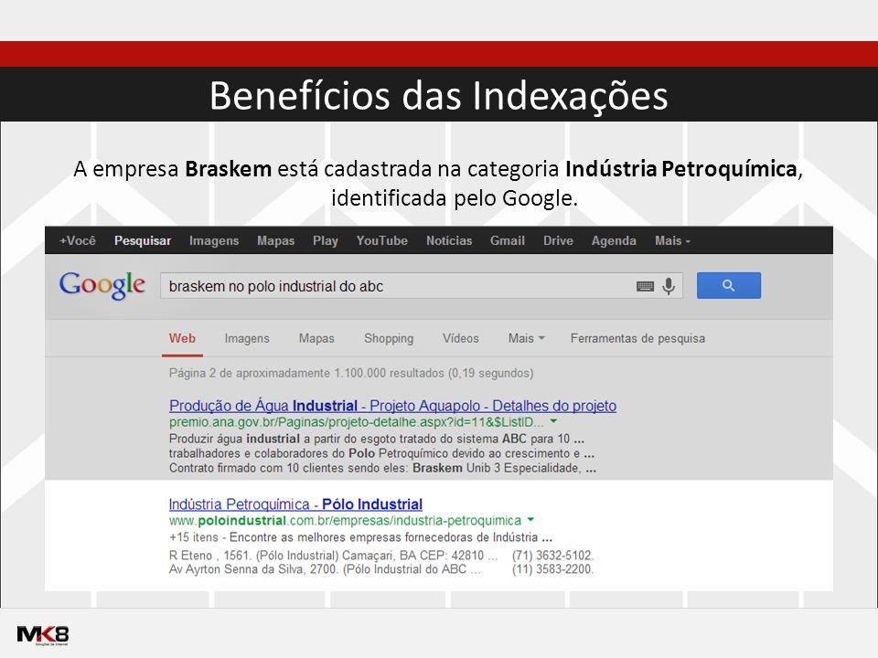 Benefícios das Indexações A empresa Braskem está cadastrada na categoria Indústria Petroquímica, identificada pelo Google.