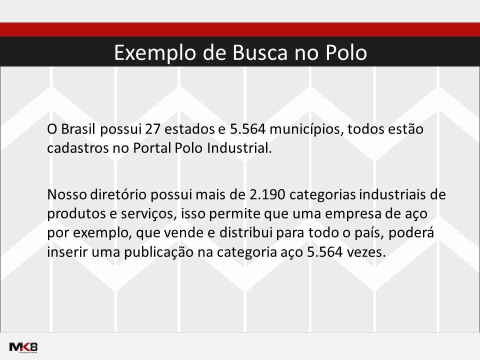 Exemplo de Busca no Polo O Brasil possui 27 estados e 5.564 municípios, todos estão cadastros no Portal Polo Industrial.