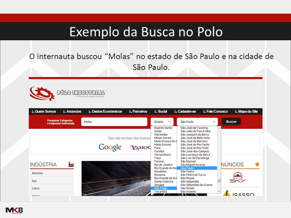 Exemplo da Busca no Polo O internauta buscou Molas no estado de São Paulo e na cidade de São Paulo.