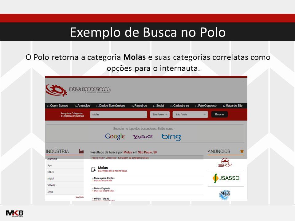 Exemplo de Busca no Polo O Polo retorna a categoria Molas e suas categorias correlatas como opções para o internauta.