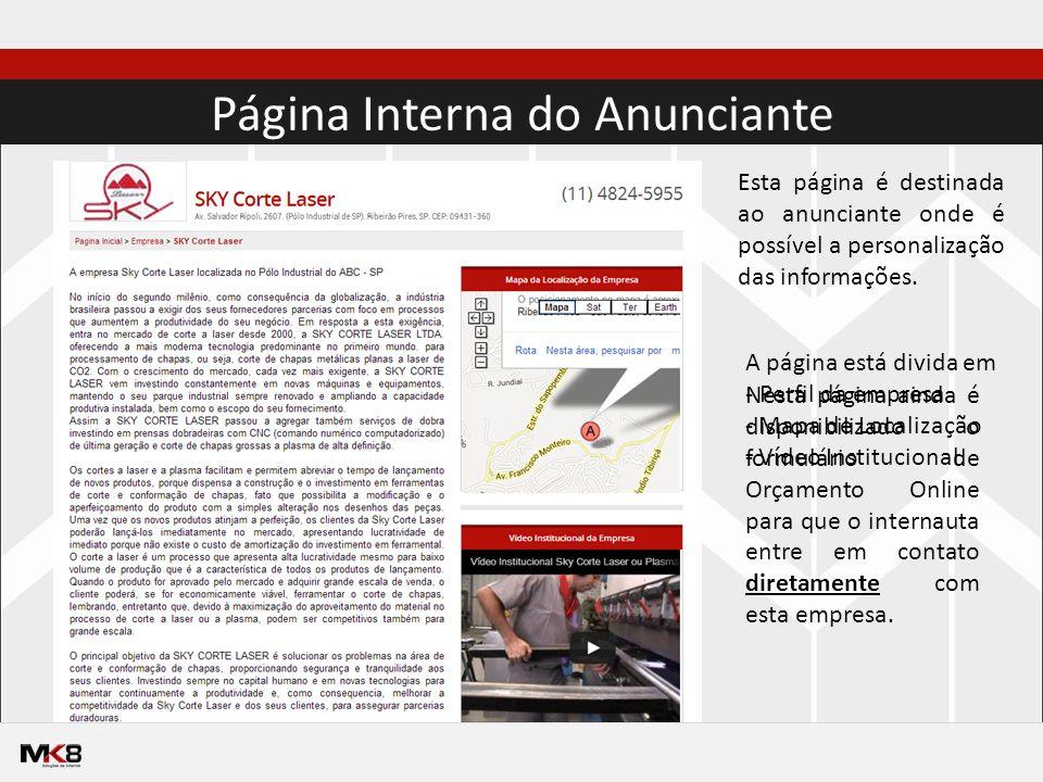 Página Interna do Anunciante Esta página é destinada ao anunciante onde é possível a personalização das informações.